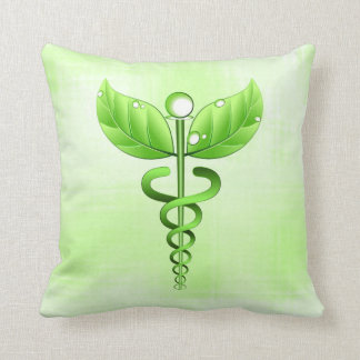 Green Caduceus Alternative Medicine Icon Holistic Throw Pillow