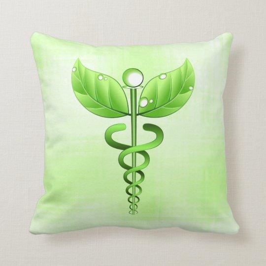 Green Caduceus Alternative Medicine Icon Holistic Throw Pillow