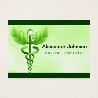 Green Caduceus Alternative Medicine Light Large Business Card