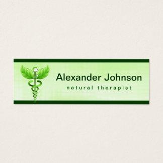 Green Caduceus Alternative Medicine Light Skinny Mini Business Card