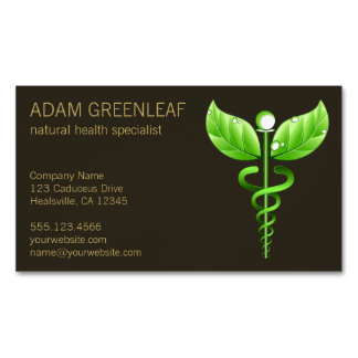 Green Caduceus Alternative Medicine Magnet