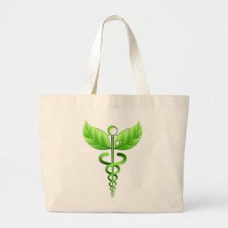 Green Caduceus Alternative Medicine Medical Icon Large Tote Bag
