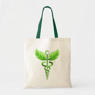 Green Caduceus Alternative Medicine Medical Icon Tote Bag