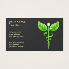 Green Caduceus Alternative Medicine Medical Symbol Business Card at Zazzle