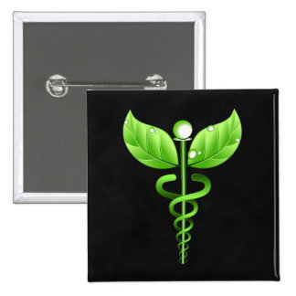 Green Caduceus Alternative Medicine Medical Symbol Pinback Button