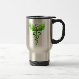 Green Caduceus Alternative Medicine Medical Symbol Travel Mug