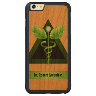 Green Caduceus Alternative Medicine Medical Wood Carved Cherry iPhone 6 Plus Bumper Case