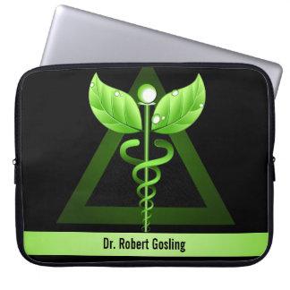 "Green Caduceus Alternative Medicine Symbol 15"" Laptop Sleeve"