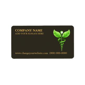 Green Caduceus Alternative Medicine Symbol Brown Label