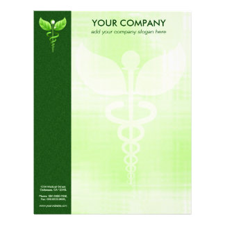 Green Caduceus Alternative Medicine Symbol Formal Letterhead
