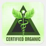 Green Caduceus Certified Organic Square Stickers Sticker