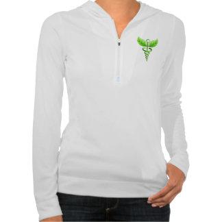 Green Caduceus Emblem Alternative Medicine Symbol Hooded Sweatshirt