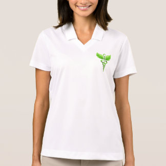 Green Caduceus Emblem Alternative Medicine Symbol Polo Shirt