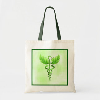 Green Caduceus Holistic Health Natural Therapy Tote Bag