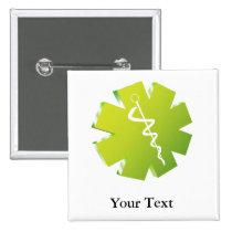 green caduceus medical gifts button
