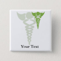 green caduceus medical gifts pinback button