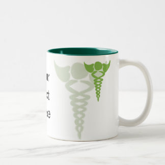 green caduceus medical gifts Two-Tone coffee mug