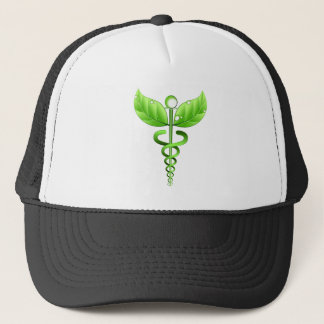 Green Caduceus Medical Symbol Alternative Medicine Trucker Hat