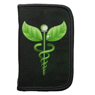 Green Caduceus Symbol Black Small Folio Planner Folio Planners