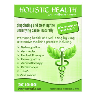 Green Caduceus Symbol Holistic Health Vertical Flyer