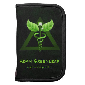 Green Caduceus Symbol Naturopathy Folio Planner Organizer