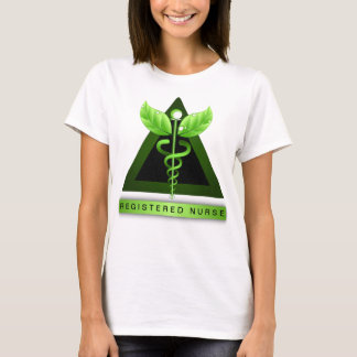 Green Caduceus Symbol RN Registered Nurse Icon T-Shirt