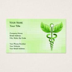 Green Caduceus Unique Alternative Medicine Business Card at Zazzle