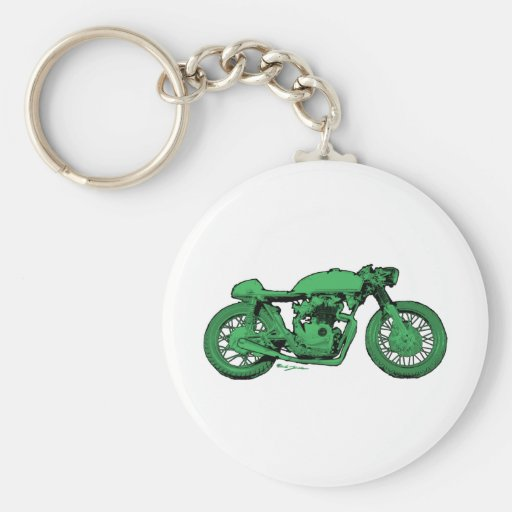 Green Cafe Racer Vintage Motorcycle Basic Round Button Keychain