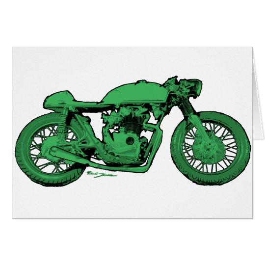 Green Cafe Racer Vintage Motorcycle Card