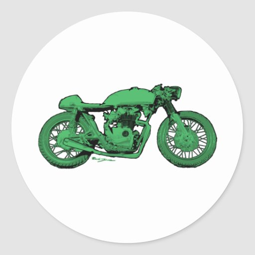 Green Cafe Racer Vintage Motorcycle Classic Round Sticker