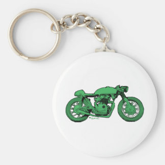 Green Cafe Racer Vintage Motorcycle Keychain
