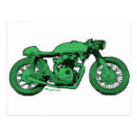 Green Cafe Racer Vintage Motorcycle Post Card