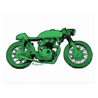 Green Cafe Racer Vintage Motorcycle Post Card