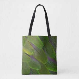 Green Caique Parrot Feather Design Tote Bag