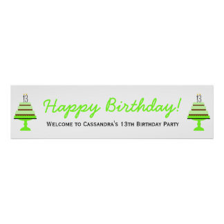 Green Cake 13th Birthday Party Banner Poster