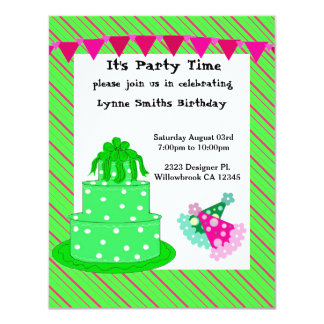 Green Cake and Party Hats Birthday Invitation