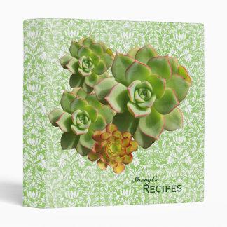 Green Calico Succulent Recipe Vinyl Binder