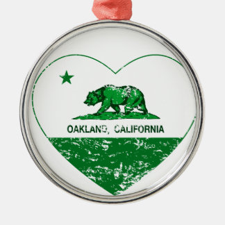 green california flag oakland heart round metal christmas ornament