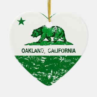 green california flag oakland heart Double-Sided heart ceramic christmas ornament