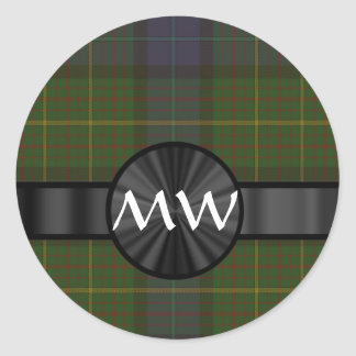 Green California state tartan plaid Classic Round Sticker
