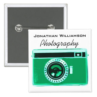 Green Camera Photography Business Pinback Button