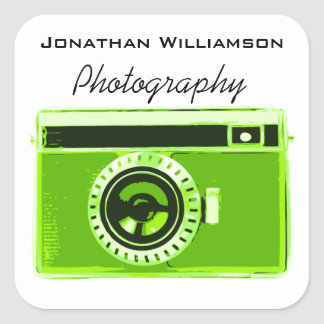 Green Camera Photography Business Square Sticker