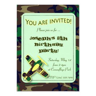 Green Camo Airplane Party Invitation