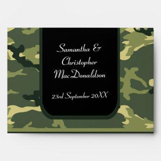 Green camo army military wedding envelope