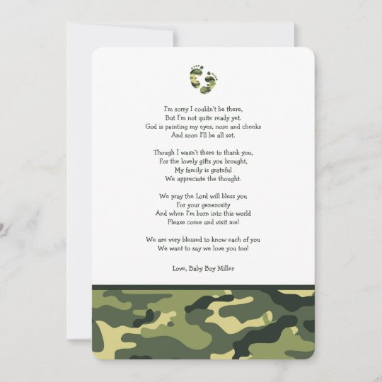 Green Camo Baby Shower Thank You Note With Poem Zazzlecom
