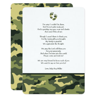 Green Camo baby shower thank you note with poem Card