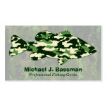 Green Camo Bass Fishing Double-Sided Standard Business Cards (Pack Of 100)
