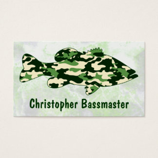 Green Camo Bass Fishing template Business Card