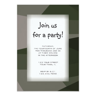 Green Camo Block All Purpose Party Invitation