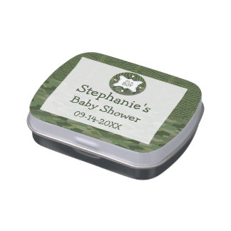 Green Camo Boy Baby Shower Candy Tins Party Favors